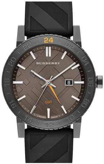 Burberry BRAND NEW Burberry The New City GMT Black Check Rubber Strap Watch