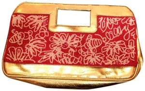 Lilly Pulitzer Pink, white and gold Clutch