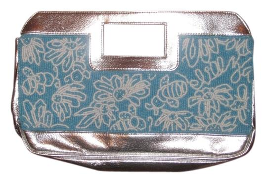 Lilly Pulitzer Turquoise, white and silver beaded Clutch