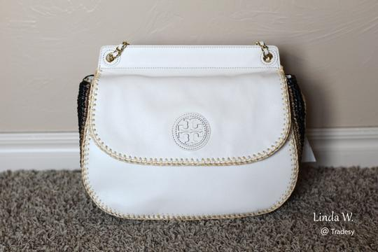 Tory Burch Leather Crochet Straw Crossbody Adjustable Strap Chain Strap Versatile Logo Shoulder Bag