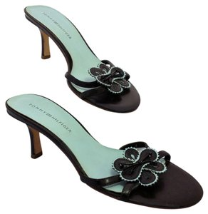 Tommy Hilfiger Leather Accent Piping Leather Upper Design Black and Robin's Egg Blue Mules