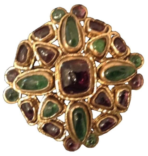 Item - Purple Green Reserved For Jackie Gripoix Glass Gold Plated Brooch