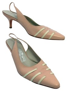 Salvatore Ferragamo Leather Uppers And Lowers Light Pink with Eggshell White Trim Pumps