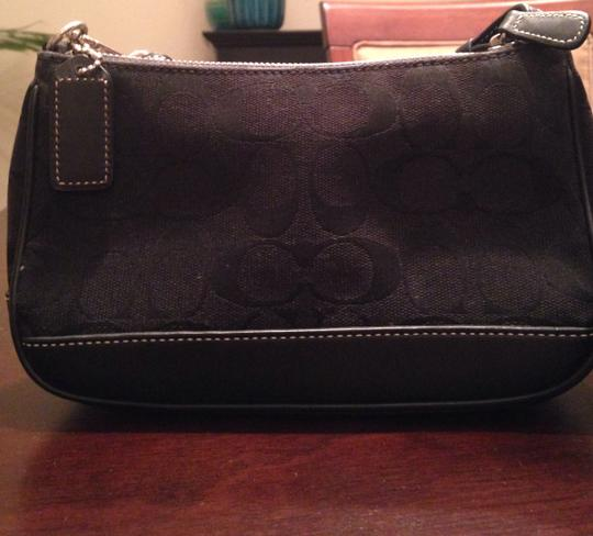 Coach Minibag Signature Leather Canvas Satchel in Black Image 1
