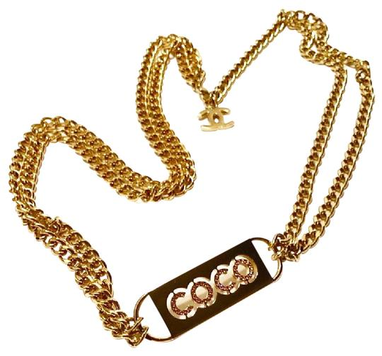 Chanel Authentic Chanel Gold-Tone Chain Belt with Rhinestone Lettered Plate