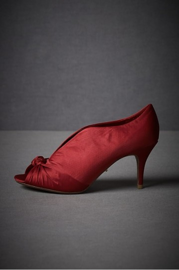 SCHUTZ Satin Peep Toe Red Pumps