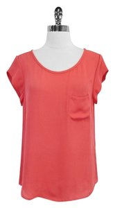 Joie Coral Silk Cap Sleeve Top