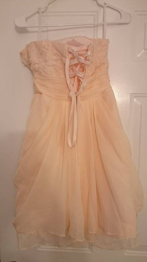 Peach Pink Ployester Formal Bridesmaid/Mob Dress Size 4 (S)