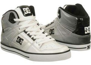 DC Shoes Men's Skate Sneakers Ombre Patent White Black Athletic