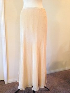 Adrianna Papell Beige Silk Acetate ~ Pending Sale ~ Studded Faux Pearls Skirt Formal Bridesmaid/Mob Dress Size 14 (L)