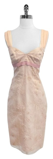 Nicole Miller short dress Blush Silk Sleeveless Floral Applique on Tradesy