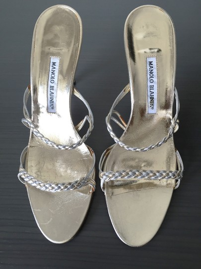 Manolo Blahnik Metallic Date Night Night Out Braided Silver Gold Sandals