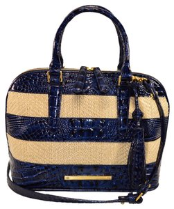 Brahmin Raffia Vivian Croco Vineyard Satchel in Blue