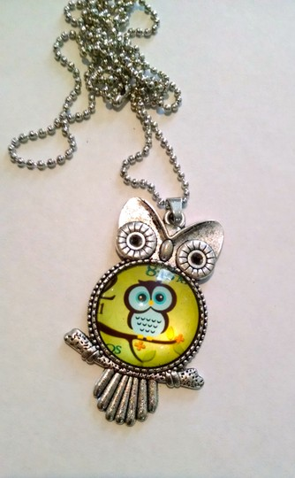 Other New Owl Pendant Necklace Silver Green Large J1114
