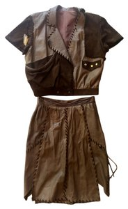 Leather Vintage 60's Mini Skirt brown