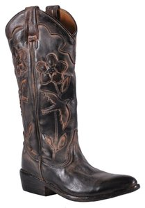 Oak Tree Farms Cowboy Leather Black Teak Rust Oxidized Boots