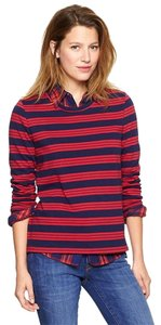 Gap Crew Neck 100% Cotton Collegiate Top Red and Navy Stripe