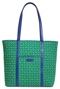 Vera Bradley Quilted Tote in Emerald Diamonds with Cobalt Blue Trim