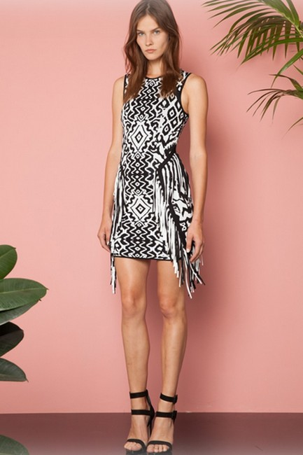 Torn by Ronny Kobo short dress Fringe Bodycon Stretchy Jacquard Print on Tradesy
