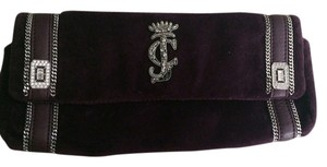Juicy Couture Chain Velour Purple Clutch