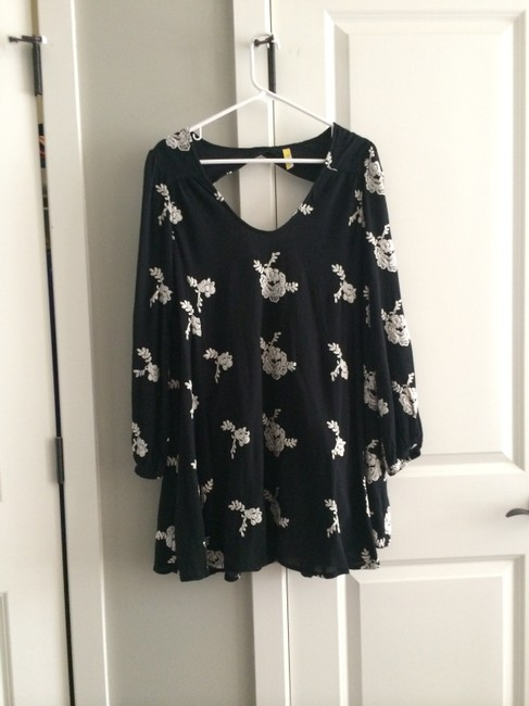 Free People short dress Black Embroidered on Tradesy