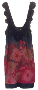 Free People short dress Navy Blue Pink Multi on Tradesy