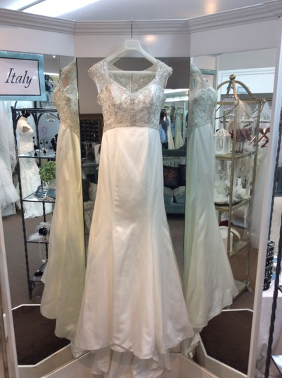 Mori Lee Ivory Silver Satin and Lace 1954 Traditional Wedding Dress Size 12 (L)