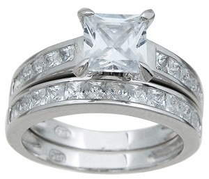 1.5cttw .75ct Center Princess Cut Cz Bridal Set In Sterling Silver .925