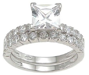 1.5cttw 1ct Center Princess Cut Cz Sterling Silver .925 Bridal Set - New