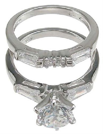 1.5cttw 1ct Round Brilliant Cut Cz Engagement Wedding Set In Sterling Silver .925