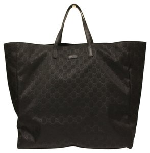 Gucci Nylon Leather Monogram Black Beach Bag