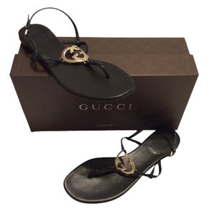 eded31f26a9f Gucci New Leather Heart Thong Sold Out Signature Logo 38.5 Flats Black  Sandals