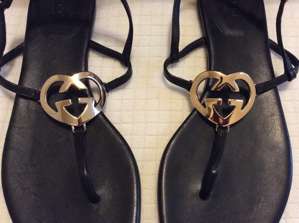 7c417ed3b Gucci New Leather Heart Thong Sold Out Signature Logo 38.5 Flats Black  Sandals Image 9. 12345678910