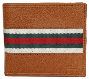 Gucci Gucci Saddle Brown Leather Men's Web Bifold Wallet 231845