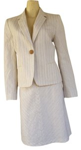 Antonio Melani NWT ANTONIO MELANI Ivory Seersucker Skirt Suit 8/10 Cotton Line Blend Shelly