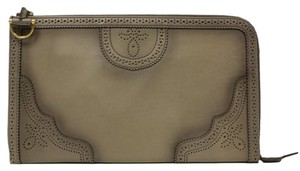 Gucci Duilio Brogue Oversized Leather Zip Around 296911 Gray Clutch