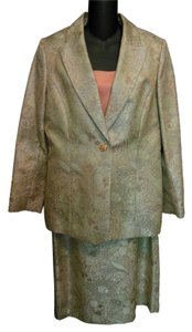 Nipon Boutique Nipon Boutique Metallic Brocade and Salmon 3 Piece Skirt Suit Size 12