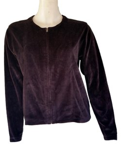 Jones New York Zip Front Velour Brown Jacket