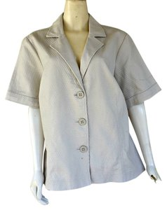 Coldwater Creek Textured Short Sleeves Ivory Blazer