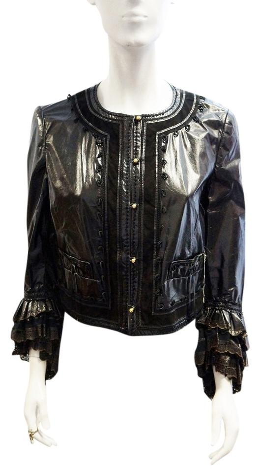 best service 4cf74 7bbc1 Roberto Cavalli Black New Leather Victorian Lace Ruffle Suede Trim S Jacket  Size 6 (S)