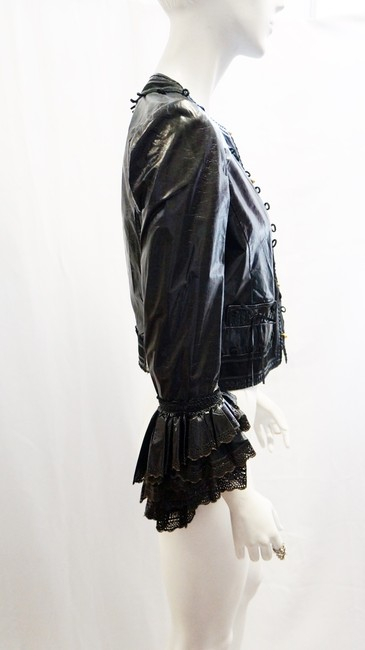 Roberto Cavalli New Leather Victorian Lace Ruffle Suede Trim Small Black Jacket
