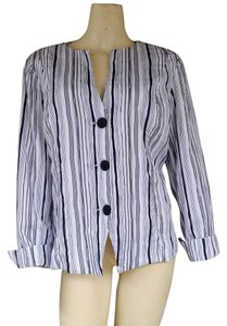 Chico's Striped Crinkled Jacket White Blazer