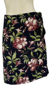 Tommy Bahama Wrap Tropical Silk Floral Skirt Black