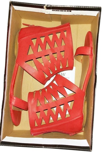 Michael Antonio Gladiator Zip Ankle Strap Cut-out Red Sandals