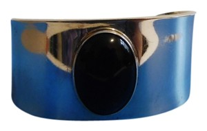 Artisan Crafted Black Onyx .925 Mexico Sterling Silver Cuff Bracelet Size 7