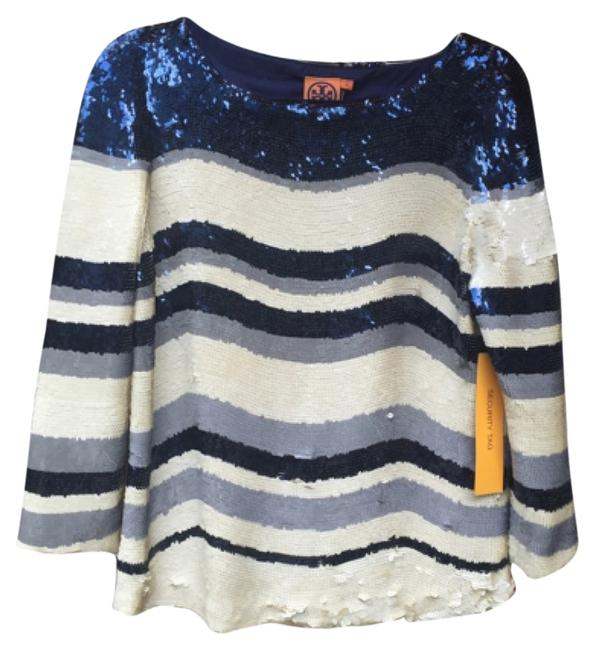 Preload https://item1.tradesy.com/images/tory-burch-cream-and-navy-blouse-size-8-m-5066950-0-0.jpg?width=400&height=650