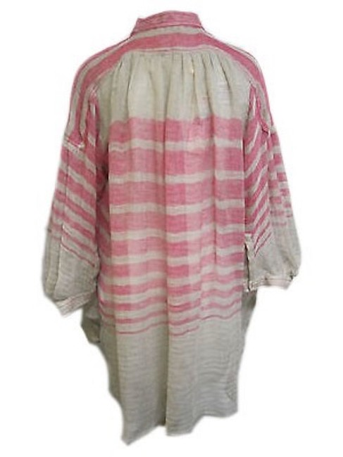 Tracy Reese Striped Henley Top Pink and Beige