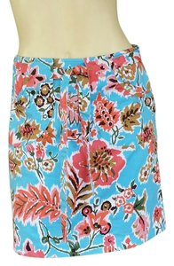 Harold Powell Floral Skirt Turquoise Skort Multi-color
