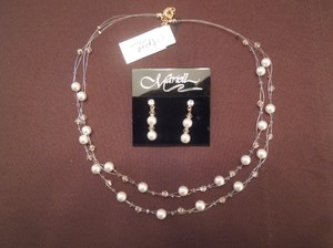 Mariell Two 2- Row Pearl And Crystal Bridesmaid Illusion Necklace And Matching Earrings Sets