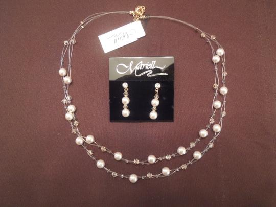 Mariell Champagne Two 2- Row Pearl and Crystal Bridesmaid Illusion Necklace and Matching Earrings Jewelry Sets